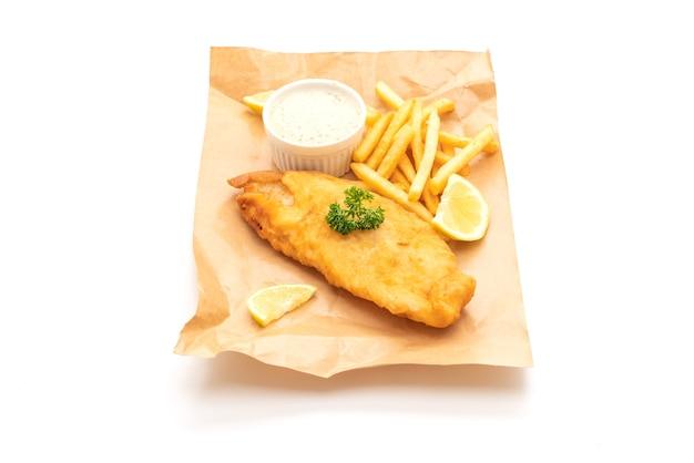 Peixe com batatas fritas com batatas fritas