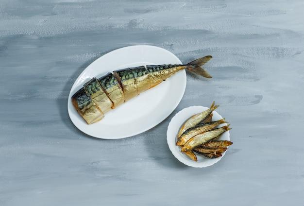 Peixe com fatias em placas brancas sobre uma superfície de gesso cinza