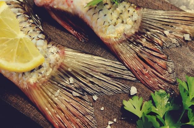 Peixe cru. foco seletivo. foco seletivo. comida.