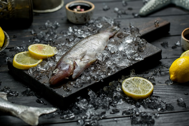 Peixe cru fresco com rodelas de limão e cubos de gelo picados.