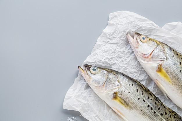 Peixe cru fresco em fundo cinza