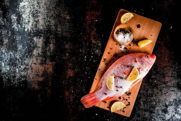 Peixe cru fresco rosa tilápia com especiarias para cozinhar limão, sal, pimenta, ervas, na mesa de metal enferrujada preta, vista superior copyspace