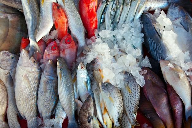 Peixe cru no mercado