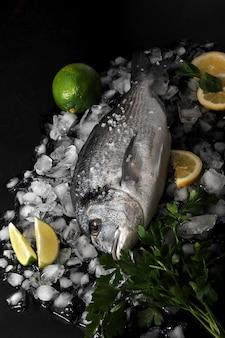 Peixe dorado deitado em cubos de gelo, sal, salsa, limão e limão