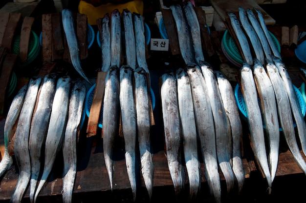 Peixe, em, um, tenda, em, um, mercado peixe, busan, yeongnam, coréia sul