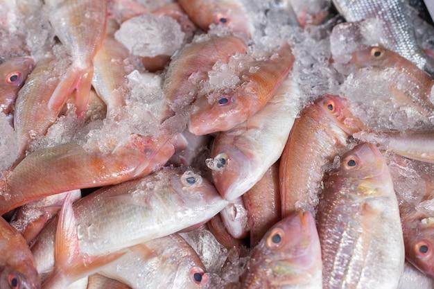 Peixe fresco colocado no gelo vendido no mercado.