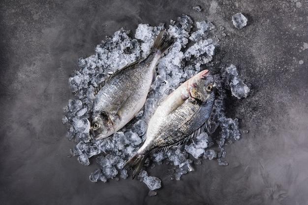 Peixe fresco cru dorado no gelo na pedra escura
