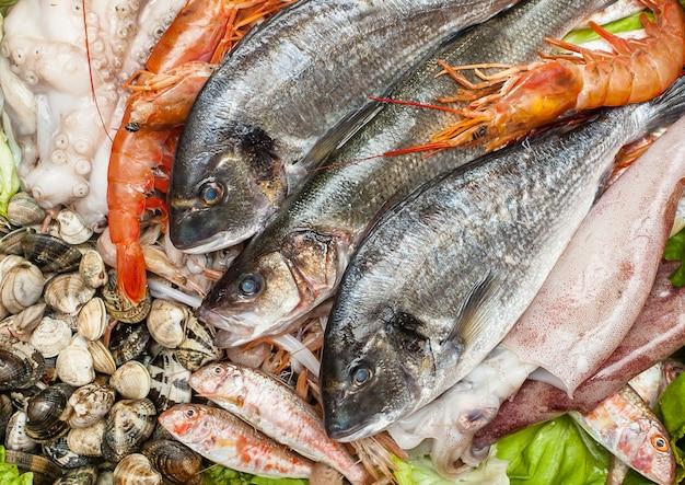 Peixe fresco e amêijoas