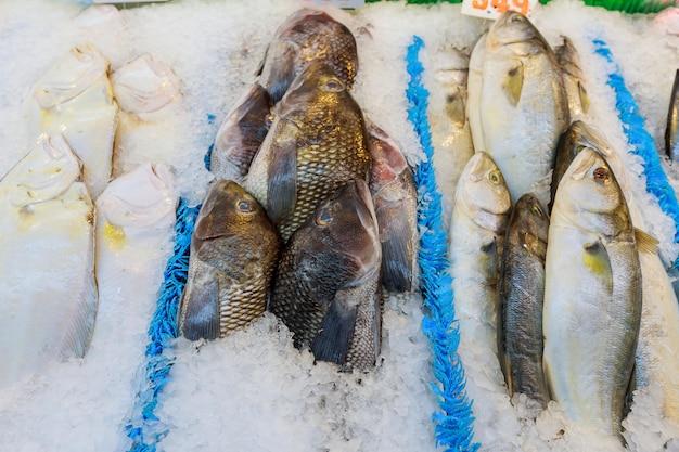 Peixe fresco no gelo decorado para venda no mercado