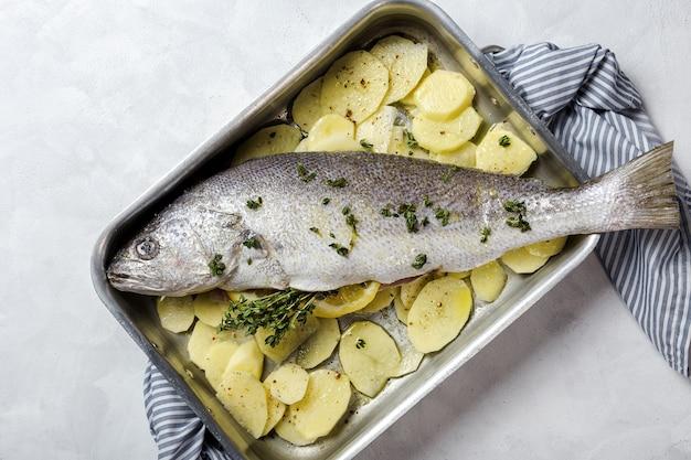 Peixe fresco robalo cru preparado para assar com batatas