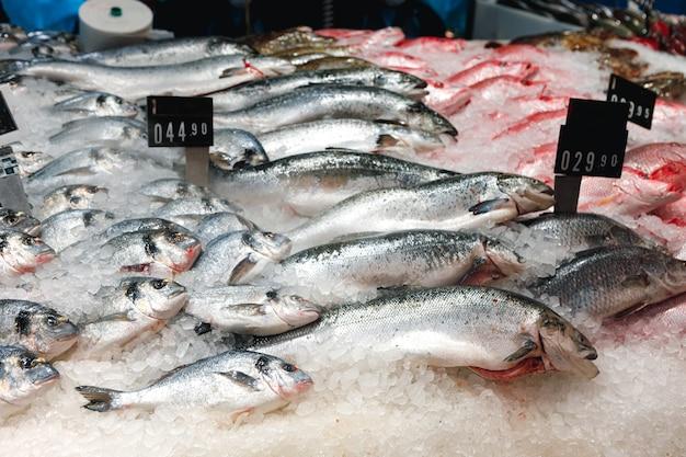 Peixe fresco sortido em balcão de gelo de supermercado