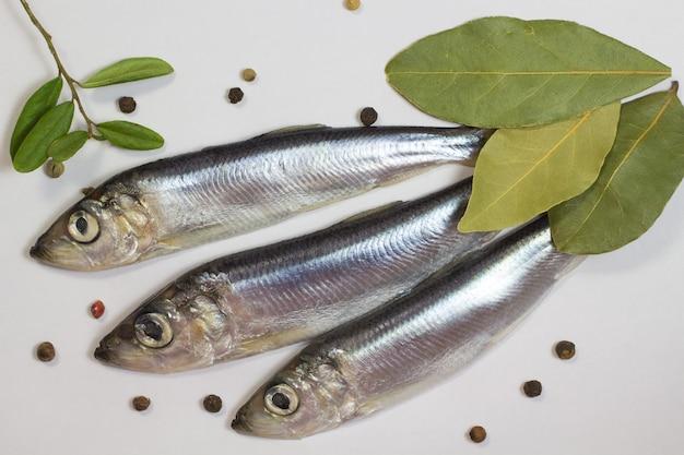 Peixe marinho arenque, louro e pimenta em um fundo branco