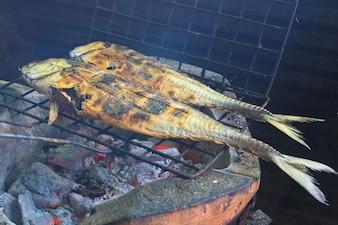 Peixe salgado em um fogão grill