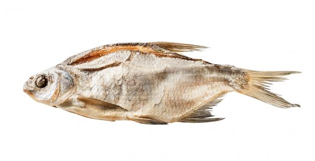 Peixe seco salgado isolado no branco