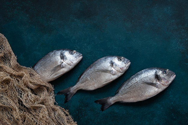 Peixes frescos do dorado com rede de pesca na placa de corte de pedra na tabela escura. vista de cima, copie o espaço.