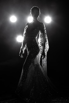Pele bronzeada asiática slim sexy mulher ver através do vestido de noite com luz de fundo fumaça