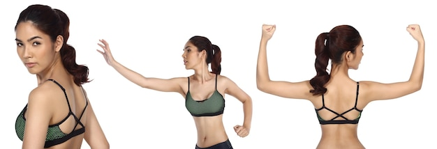 Pele bronzeada mulher asiática usar calças de ioga de sutiã fitness sport. retrato meio corpo feminino exercício e suor saudável sobre fundo branco isolado, o conceito nunca desiste