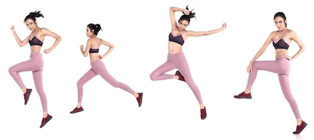 Pele bronzeada mulher asiática usar tênis fitness sport calça sutiã de ioga. comprimento total feminino exercício e suor saudável sobre fundo branco isolado, o conceito nunca desiste