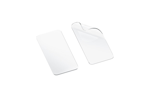 Película de proteção transparente curva em branco e vidro para tela do telefone isolada