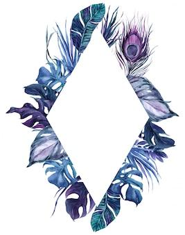 Penas de pássaro exóticas do quadro do rombo e folhas tropicais grinalda.
