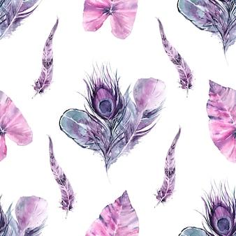 Penas de pássaros exóticos de padrão sem emenda e folhas tropicais