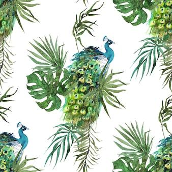 Penas de pavão e folhas tropicais aquarela padrão