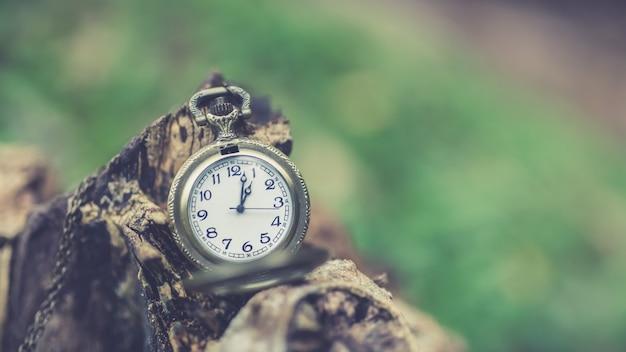 Pendente de relógio antigo em tronco de madeira