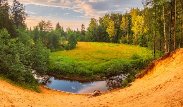 Penhasco de areia no sinuoso rio okhta, na floresta de outono da região de leningrado, perto de são petersburgo