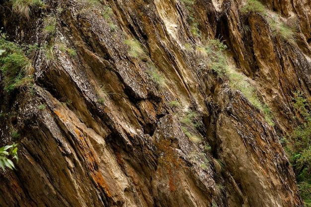 Penhasco de pedra de areia amarela rachada com grama verde