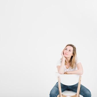Pensativo, mulher, cadeira