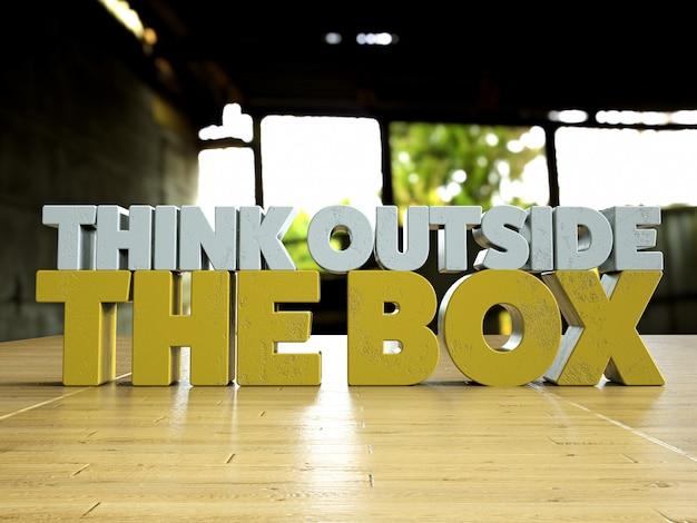 Pense fora da caixa texto 3d motivacional sobre uma mesa de madeira