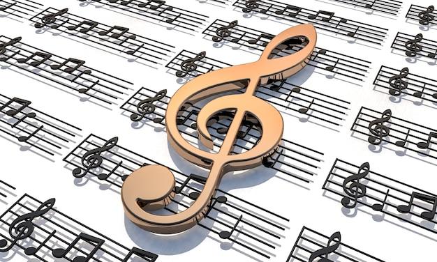 Pentagrama com notas musicais de clave de sol dourado.