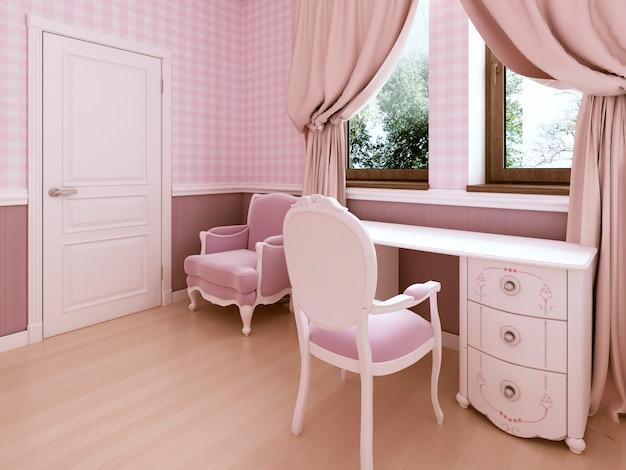 Penteadeira branca no quarto das crianças é um estilo clássico. renderização 3d.