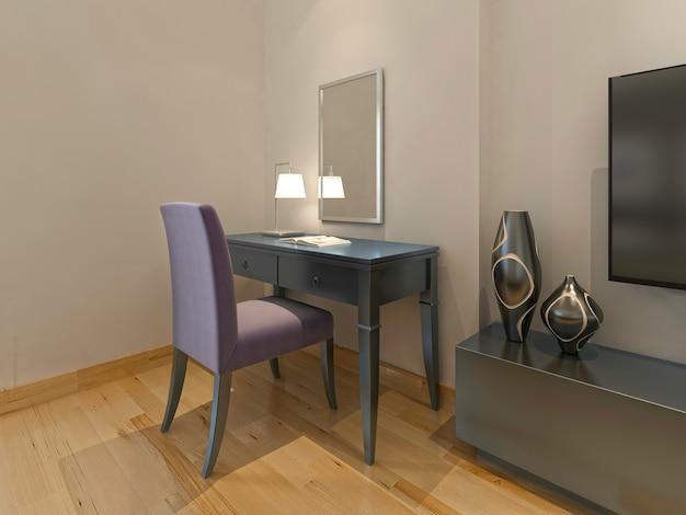 Penteadeira com cadeira e espelho em um quarto de hotel moderno. 3d render.