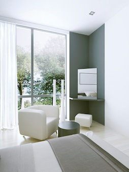 Penteadeira em quarto de hotel caro perto de uma grande janela panorâmica