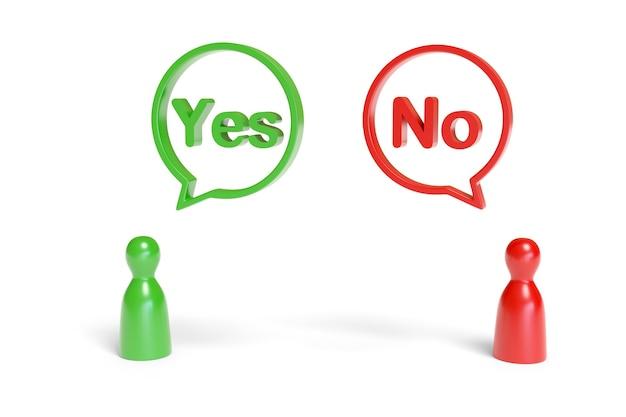 Peões vermelhos e verdes com balões de fala com as palavras sim e não.