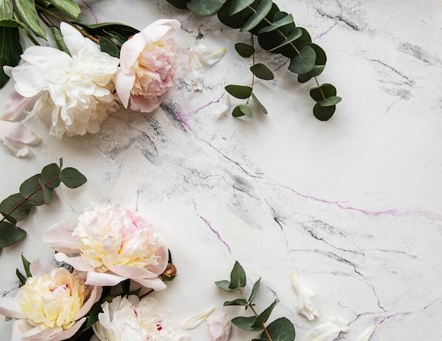 Peônias rosa em um fundo de mármore