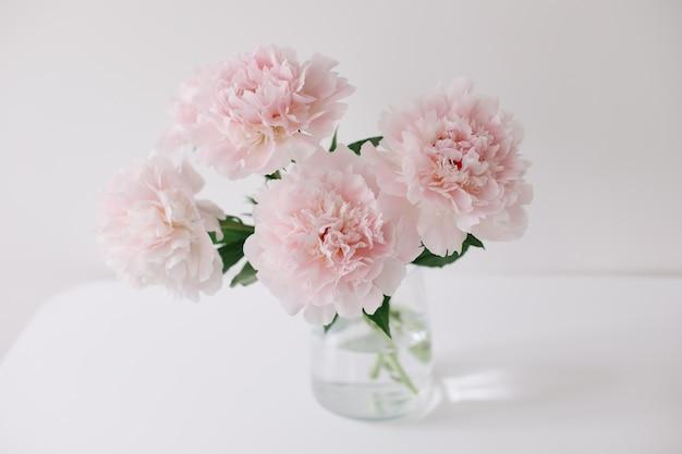 Peônias rosa em um vaso