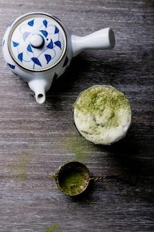 Peparação de chá matcha, vista superior