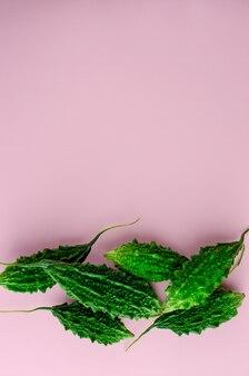 Pepino amargo cru ou momordica sobre fundo verde. vegetais asiáticos exóticos. configuração plana, cópia espaço