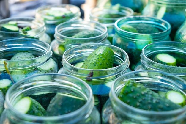 Pepinos em potes, processo de fabricação de pepinos em conserva.