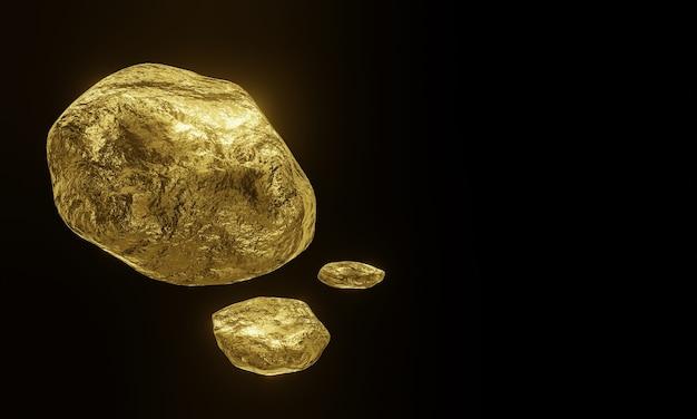 Pepitas de ouro puro renderizadas em 3d com espaço de cópia