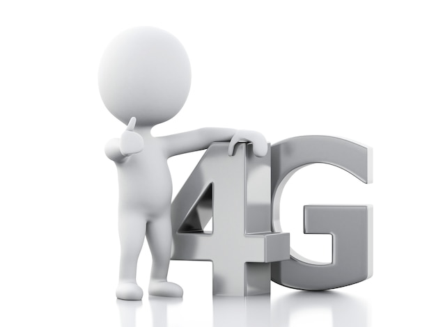 Peple branco 3d com telefone inteligente e sinal de 4g. conceito de tecnologia