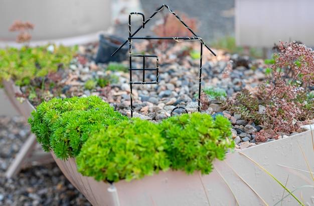 Pequena casa feita de arame em um canteiro de flores
