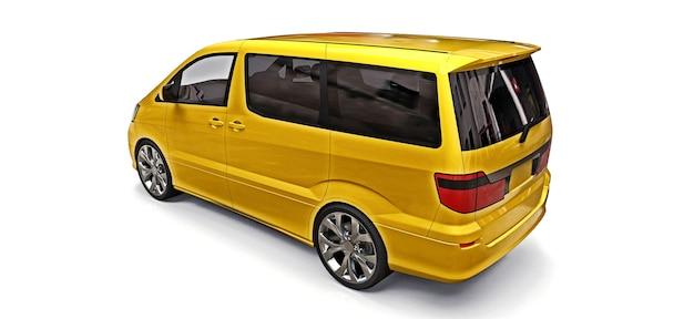 Pequena minivan amarela para transporte de pessoas. ilustração tridimensional em um fundo branco. renderização 3d.