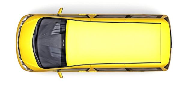 Pequena minivan amarela para transporte de pessoas
