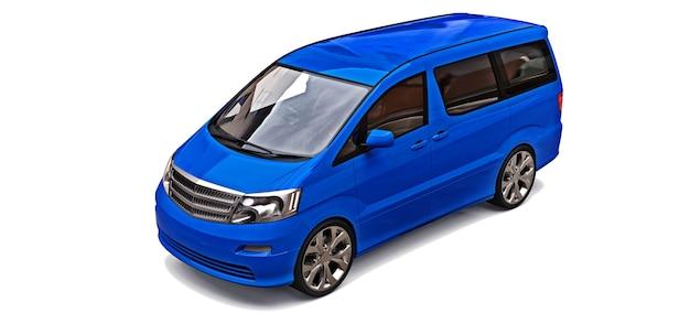 Pequena minivan azul para transporte de pessoas. ilustração tridimensional em um fundo cinza brilhante. renderização 3d.