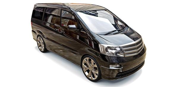 Pequena minivan preta para transporte de pessoas. ilustração tridimensional em um fundo cinza brilhante. renderização 3d.