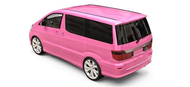 Pequena minivan rosa para transporte de pessoas. ilustração tridimensional em um fundo branco brilhante. renderização 3d.
