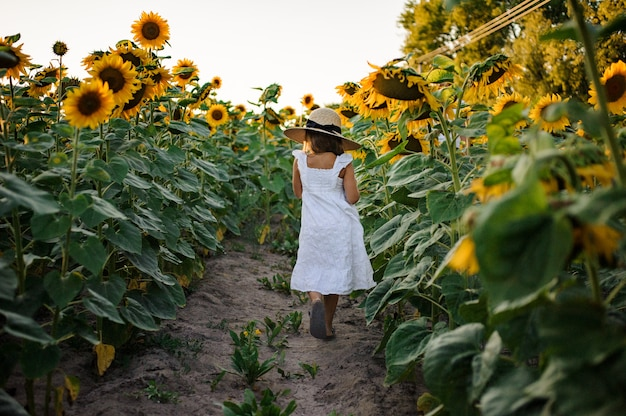 Pequena mulher caminhando pelo caminho entre os girassóis em um vestido branco e chapéu